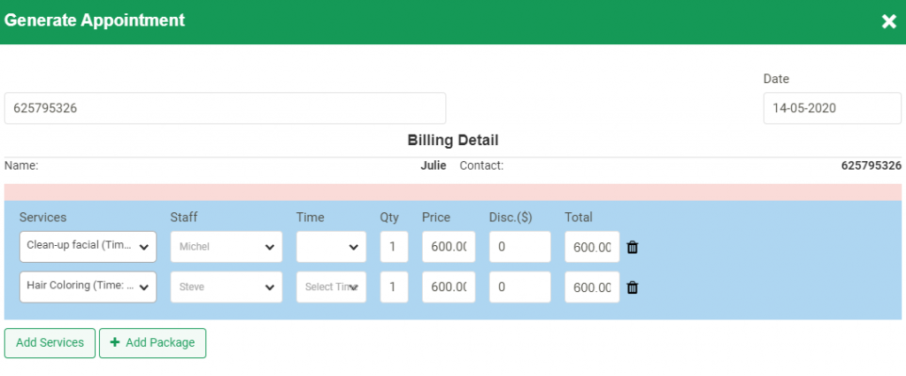 Allow the customers to book with multiple staff online