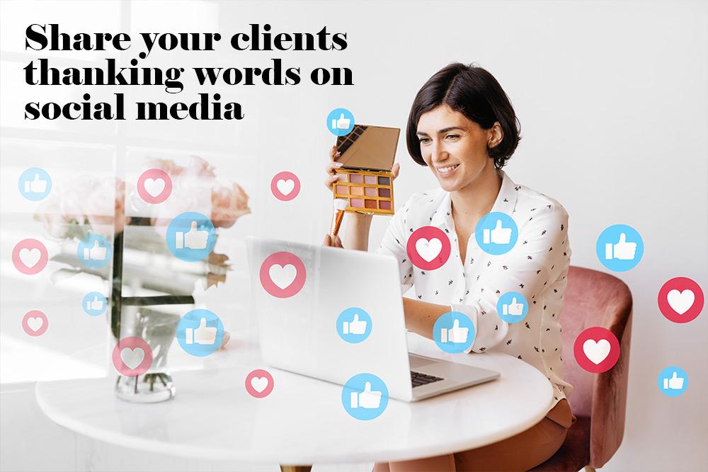 thanking words on social media